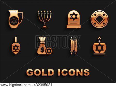 Set Jewish Money Bag With Star Of David And Coin, Burning Candle Candlestick, Torah Scroll, Hanukkah