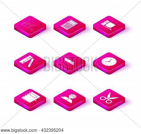Set Notebook, Student, Office Folders With Papers And Documents, Eraser Or Rubber, Scissors, Clock,