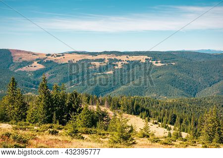 Mountain Landscape With Forested Hill. Bright Sunny Afternoon Autumn Weather. Arieseni Mountains Of