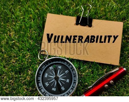 Business Concept.text Vulnerability Writing On Brown Paper With Compass And Pen On Grass Background