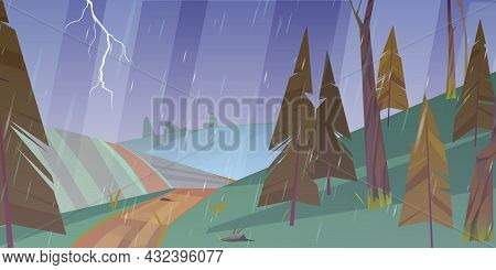 Thunderstorm Landscape With Rain And Lightning.vector Cartoon Illustration Of Storm Weather In Count
