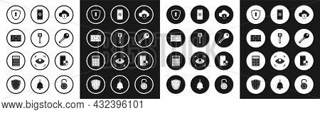 Set Cloud And Shield, Key, Bricks, Shield With Keyhole, Smartphone Fingerprint Scanner, Security And