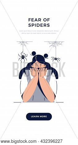 Fear Of Spiders, Arachnophobia Banner. Screaming Frightened Woman Character With Phobia Afraid Spide