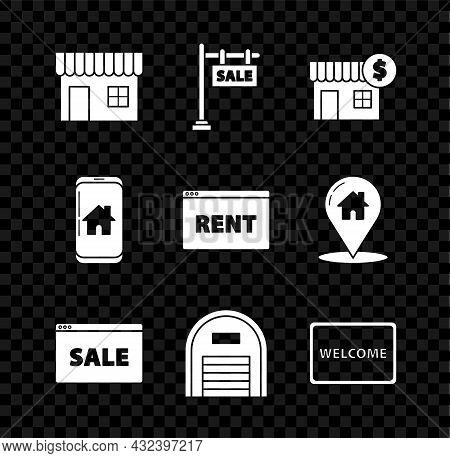 Set Shopping Building Or Market Store, Hanging Sign With Text Sale, House Dollar Symbol, Online, War