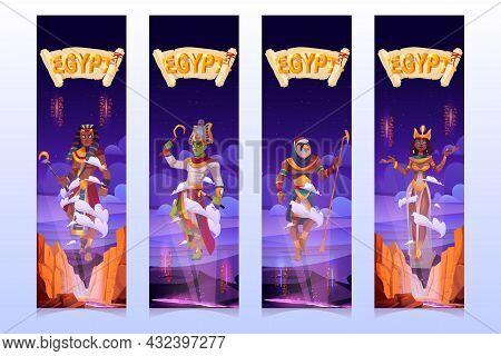 Egyptian Gods Cartoon Vertical Banners, Amun Ra, Horus, Pharaoh And Queen Cleopatra Ancient Egypt De