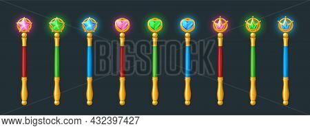 Magic Wands, Golden Sticks With Crystals In Shape Of Star, Heart And Crown.. Vector Cartoon Set Of W