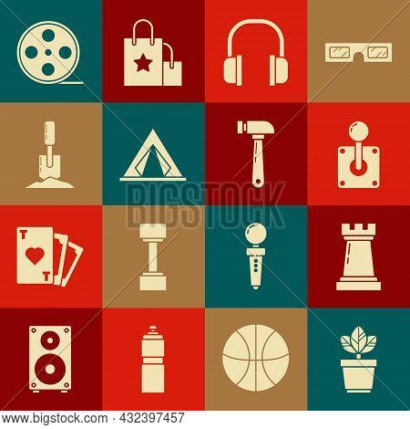 Set Flowers In Pot, Chess Symbol, Joystick For Arcade Machine, Headphones, Tourist Tent, Shovel The