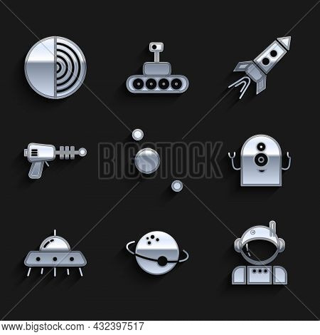 Set Solar System, Planet, Astronaut, Alien, Ufo Flying Spaceship, Ray Gun, Rocket With Fire And Eart