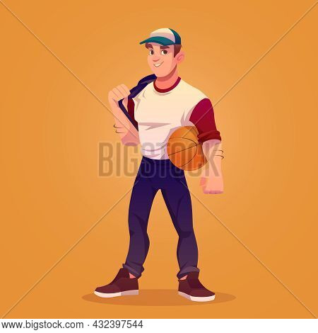 Basketball Player With Ball, Sportsman. Vector Cartoon Illustration Of Muscular Man In Cap, Professi