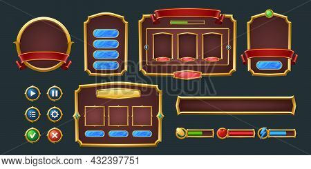 Set Of Game Frames, Bars And Menu Buttons Cartoon Interface Elements. Empty Borders With Banners, Ui