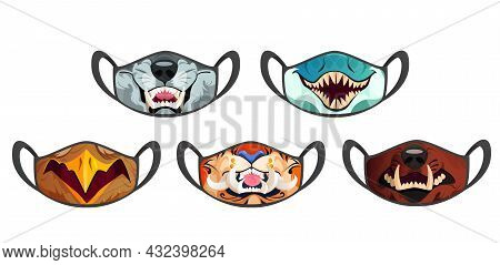 Medic Masks With Animal Muzzles, Scary Roar Cartoon Wolf, Eagle And Snake, Tiger And Bear With Long