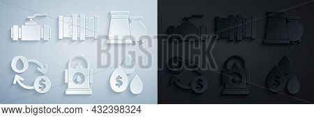 Set Petrol Or Gas Station, Oil And Gas Industrial Factory Building, Exchange, Water Transfer, Conver