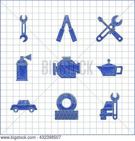 Set Check Engine, Car Wheel, Service, Canister For Motor Machine Oil, Paint Spray Can, Screwdriver A