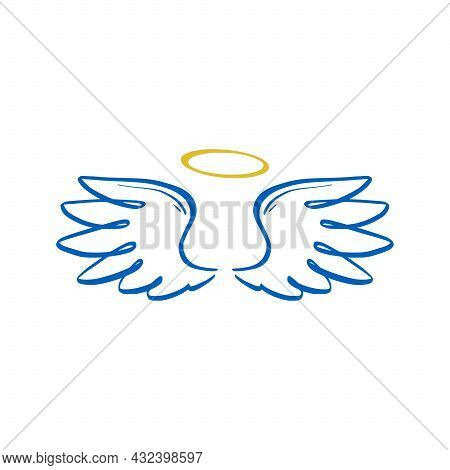 Angel Doodle Wing And Halo. Hand Drawn Sketch Style Wing. Angel, Love, Religion Concept Vector Illus