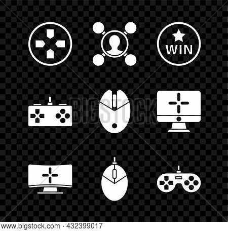 Set Gamepad, Share, Medal, Computer Monitor, Mouse Gaming, And Icon. Vector