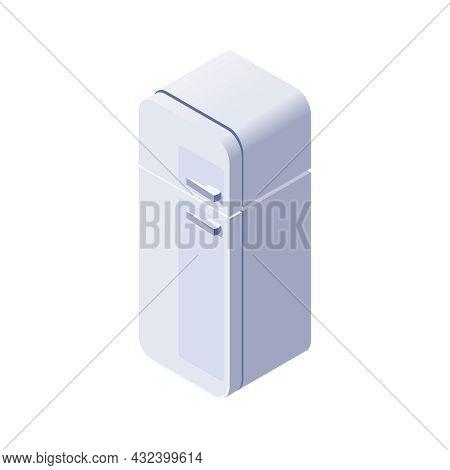 Retro White Refrigerator With Freezer 3d Isometric Vector Illustration