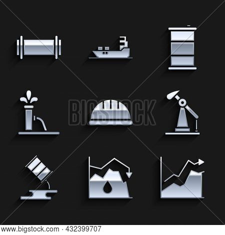 Set Worker Safety Helmet, Drop In Crude Oil Price, Oil Increase, Pump Pump Jack, Barrel Leak, And In