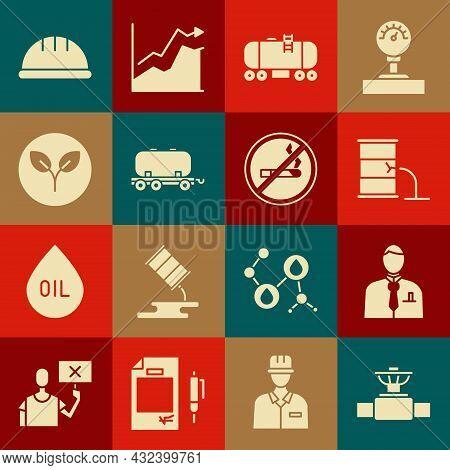Set Industry Pipe And Valve, Businessman Or Stock Market Trader, Barrel Oil Leak, Oil Railway Cister