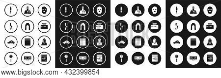 Set Thief Mask, Judge Wig, Footsteps, Pen, Inkwell, Police Officer, And Car And Flasher Icon. Vector
