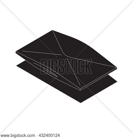 Corruption Bribe Dirty Money Isometric Icon With Black Envelope 3d Vector Illustration