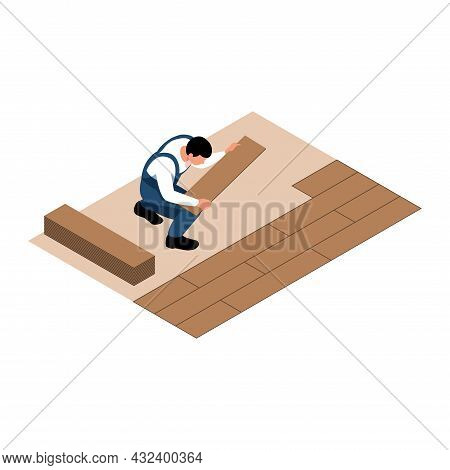 Apartment Renovation Isometric Icon With Worker Laying Parquet 3d Vector Illustration