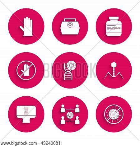 Set Dna Symbol And Virus, Virus Spread, Stop, Bacteria Bacteriophage, Spiral Computer, No Handshake,