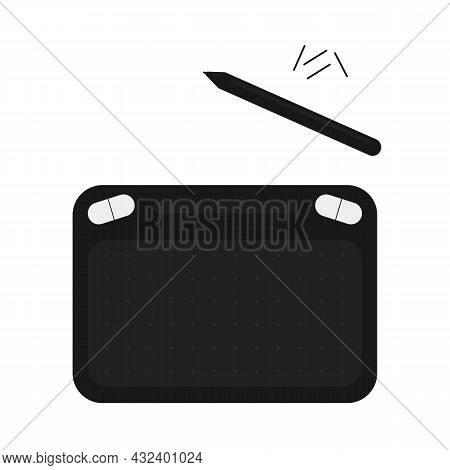 Black Graphic Tablet With A Black Pen-stylus And Replaceable Pens For Designers And Illustrators On