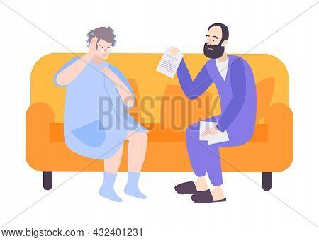 Two Flat People Sitting On Sofa With Utility Bill Vector Illustration