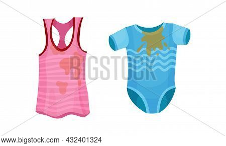 Spotted Tank Top And Kid Body As Dirty Clothing With Stain For Laundry Vector Set