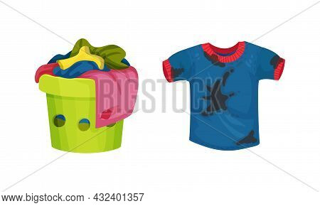 Spotted Sweatshirt And Basket With Dirty Clothing With Stain For Laundry Vector Set