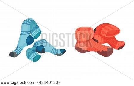 Spotted Socks As Dirty Clothing With Stain For Laundry Vector Set