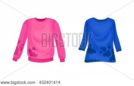 Spotted Sweater As Dirty Clothing With Stain For Laundry Vector Set
