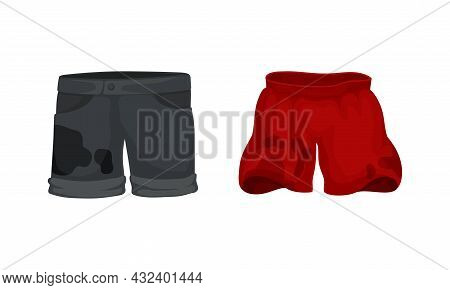 Spotted Shorts As Dirty Clothing With Stain For Laundry Vector Set