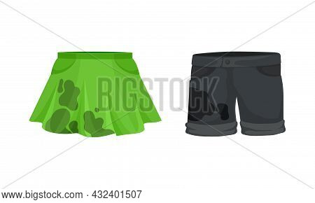 Spotted Skirt And Shorts As Dirty Clothing With Stain For Laundry Vector Set