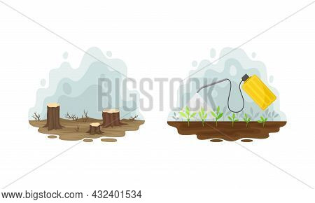 Environmental Issue And Ecological Problem With Deforestation Vector Set