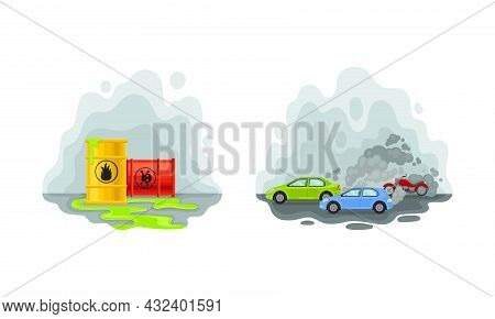 Environmental Issue And Ecological Problem With Air Pollution With Traffic Emission Vector Set