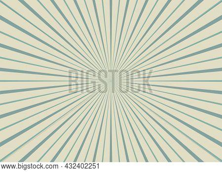Sunlight Rays Shine Background. Powder Blue And Beige Color Burst Background. Vector Sky Illustratio