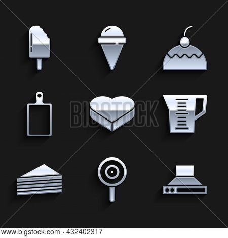 Set Candy In Heart Shaped Box, Lollipop, Kitchen Extractor Fan, Measuring Cup, Cake, Cutting Board,