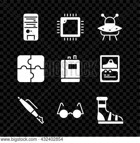 Set Computer, Processor With Cpu, Ufo Flying Spaceship, Fountain Pen Nib, Eyeglasses, Slippers Socks