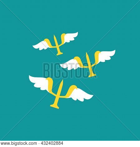 Logo For Psychologists. Golden Letter Psi With Wings. Neuropsychology And Psychology Logo Isolated O