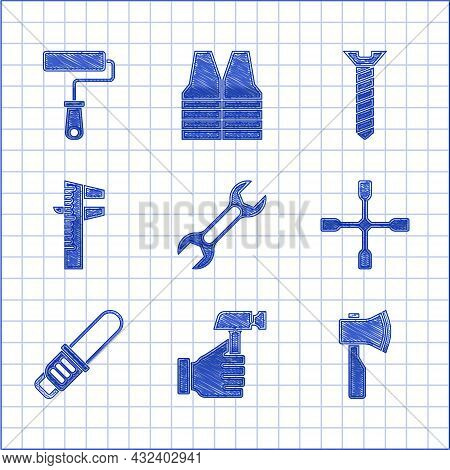 Set Wrench Spanner, Hammer, Wooden Axe, Wheel Wrench, Chainsaw, Calliper Or Caliper And Scale, Metal