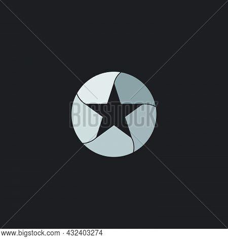Circle Star Paper Fold Design Quality Symbol Vector