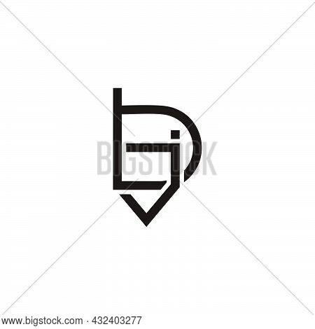 Letter Bj Lowercase Simple Geometric Logo Vector