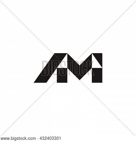 Letter Am Simple Geometric Triangle Logo Vector