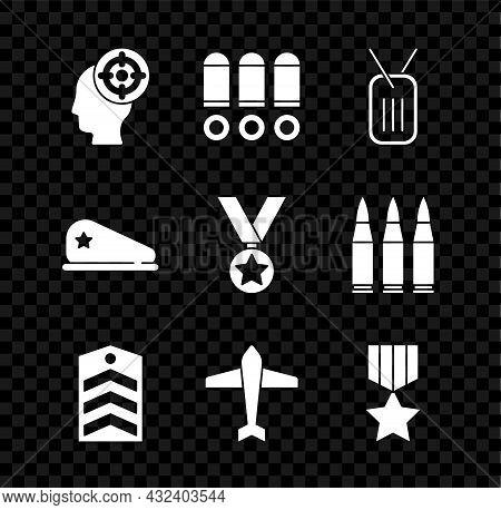 Set Target Sport, Bullet, Military Dog Tag, Chevron, Jet Fighter, Reward Medal, Beret And Icon. Vect
