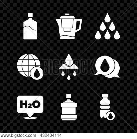 Set Big Bottle With Clean Water, Water Jug Filter, Drop, Chemical Formula For H2o, Bottle Of, Earth