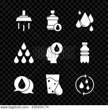 Set Shower, Big Bottle With Clean Water, Water Drop, Glass, Recycle Aqua, And Icon. Vector