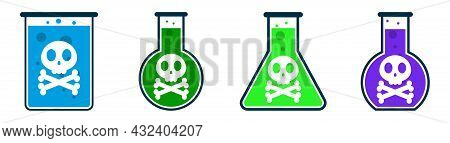 No Poison Allowed. Poison Ban Icon. Toxic Substance Prohibition Icon. Set Of Red Stop Signs. Vector