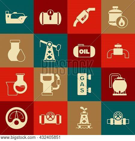 Set Metallic Pipes And Valve, Oil Tank Storage, Gasoline Pump Nozzle, Jack, Petrol Test Tube, Tanker