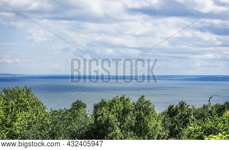 The Wide Volga River In The City Of Ulyanovsk, Top View